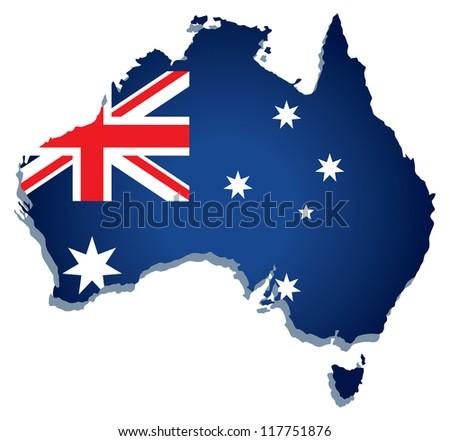 Australia vector map - stock vector