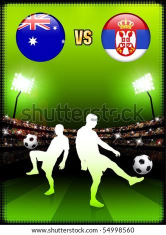 Australia versus Serbia on Stadium Event Background Original Illustration - stock vector