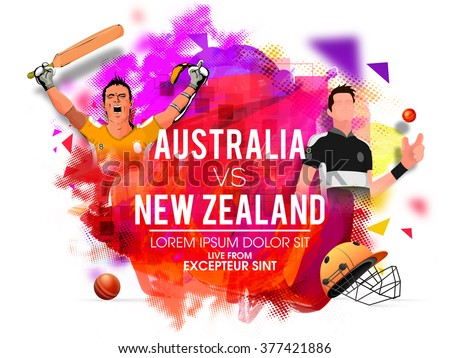 Australia Vs New Zealand Cricket Match concept with illustration of players in uniform on colorful abstract background. - stock vector