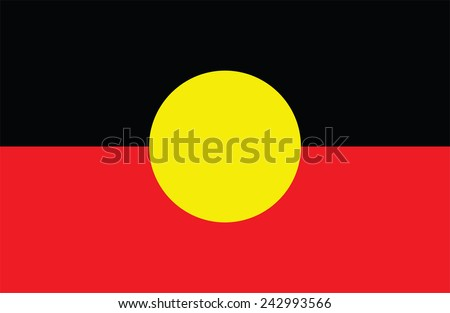 Australian Aboriginal Flag. Original and simple Aboriginal flag isolated vector in official colors and Proportion Correctly.  flag of Aborigin vector illustration isolated on white background. - stock vector