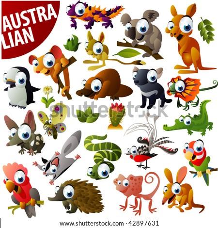 australian animals big vector set - stock vector