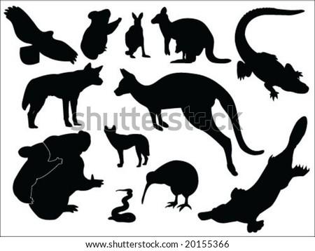 australian animals silhouette collection stock vector