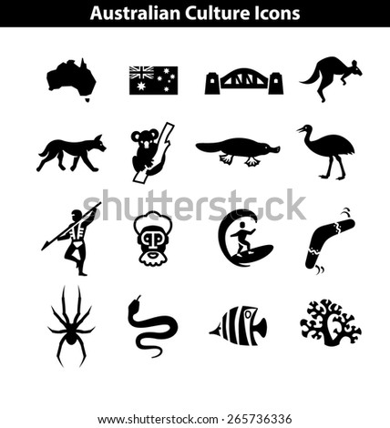 Australian Culture Icon Set. Black and White National Signs and Landmarks - stock vector