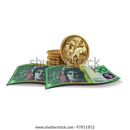 Australian dollar banknotes and coins vector illustration in color, financial theme ; isolated on background. - stock vector