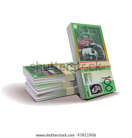 Australian dollar banknotes vector illustration in color, financial theme ; isolated on background. - stock vector