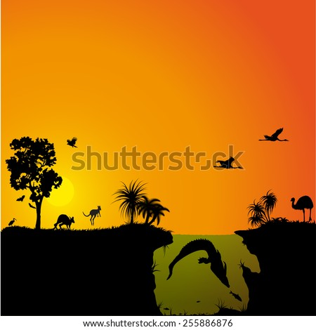 Australian fauna and flora - stock vector