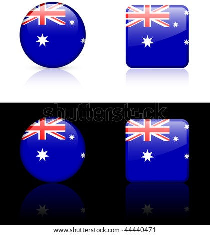 Australian Flag Buttons on White and Black Background Original Vector Illustration AI8 Compatible