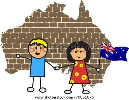 Australian map and children - stock vector
