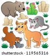 Australian wildlife fauna set 1 - vector illustration. - stock vector
