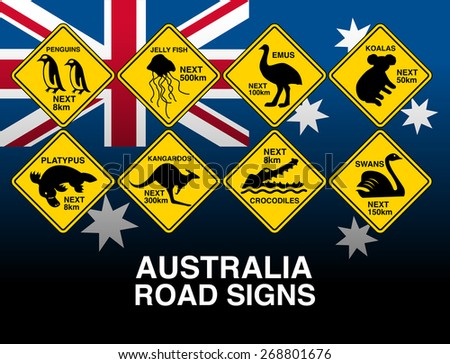 Australian yellow road warning signs with flag . - stock vector