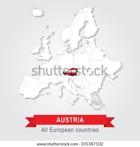 Austria Europe Administrative Map Stock Vector - Austria europe map