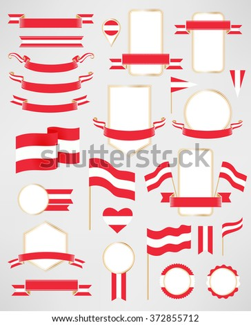 Austria flag decoration elements. Banners, labels, ribbons, icons, badges and other templates for design