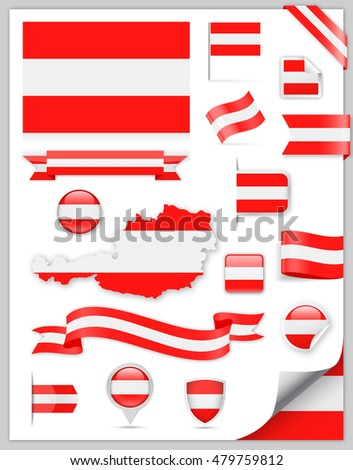 Austria Flag Set - Vector Collection