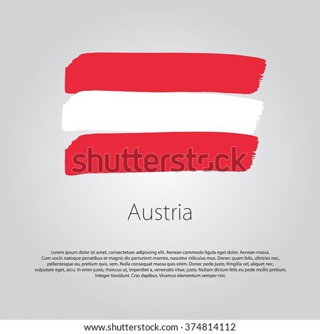 Austria Flag with colored hand drawn lines in Vector Format - stock vector