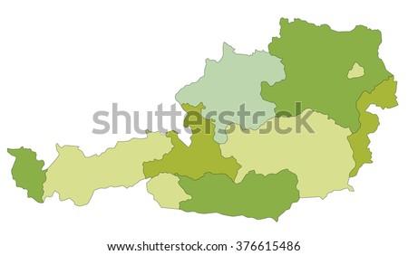 Austria Political Map Green Shades Map Stock Vector - Austria political map