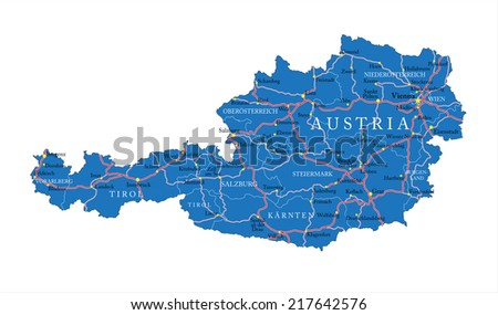 Austria map - stock vector