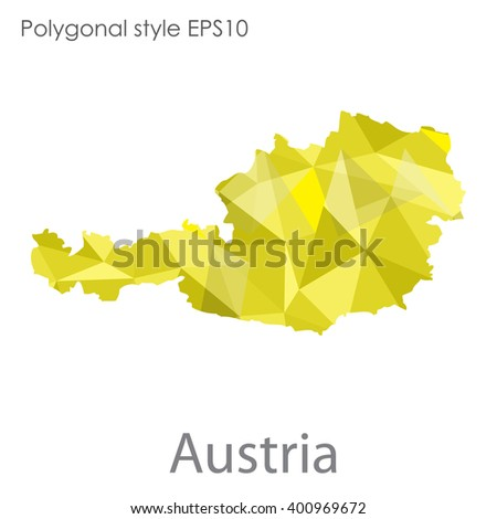 Austria map in geometric polygonal style.Abstract gems triangle,modern design background. - stock vector