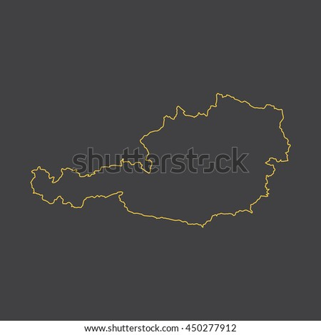 Austria map,outline,stroke,line style - stock vector