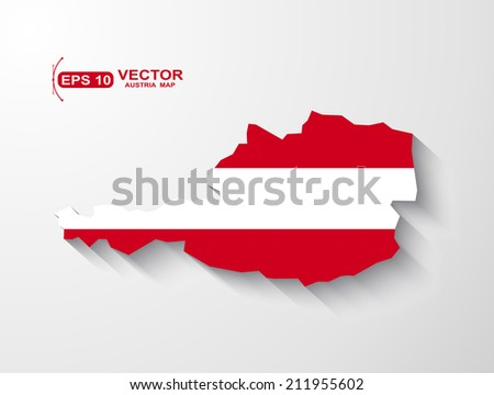 Austria map with shadow effect - stock vector