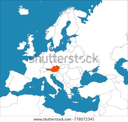 Austria On Europe Map Stock Vector (Royalty Free) 778072345 ...