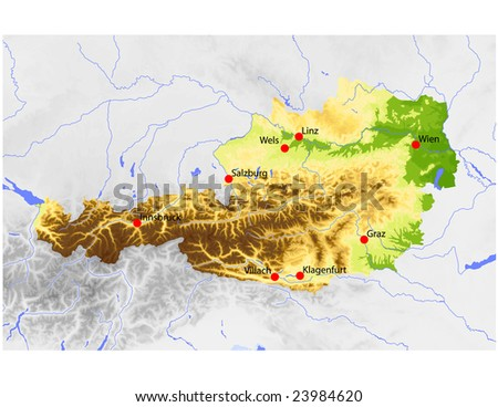 Austria. Physical vector map, colored according to elevation, with rivers and selected cities. Surrounding territory greyed out. 54 named layers, fully editable. Data source: NASA - stock vector