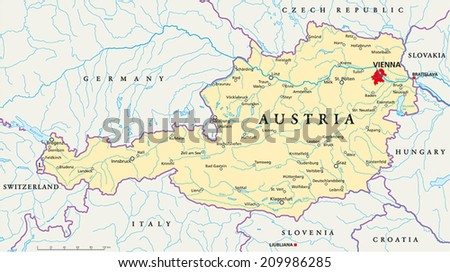 Austria Political Map Capital Vienna National Stock Photo Photo