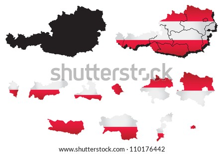 Austria  vector map with flag - stock vector