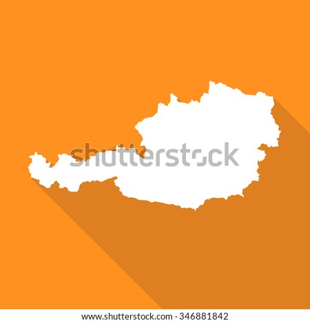 Austria white map,border flat simple style with long shadow on orange background - stock vector