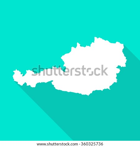 Austria white map,border flat simple style with long shadow on turquoise background - stock vector