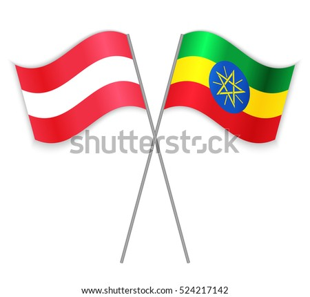 Austrian and Ethiopian crossed flags. Austria combined with Ethiopia isolated on white. Language learning, international business or travel concept.