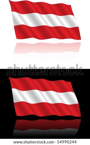 Austrian Flag Flowing - stock vector