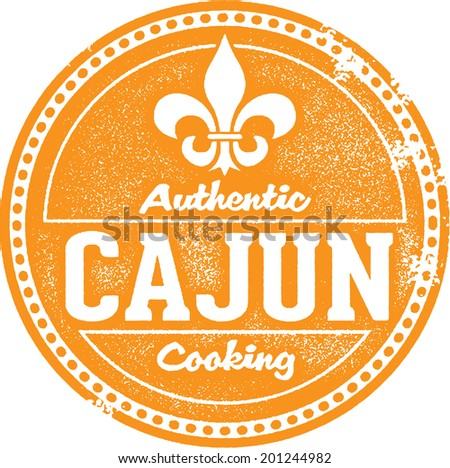 Authentic Cajun Cooking Stamp - stock vector