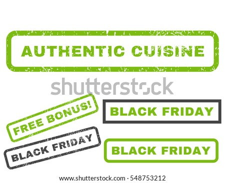 Authentic Cuisine rubber seal stamp watermark with bonus banners for Black Friday sales. Vector light green and gray emblems. Text inside rectangular shape with grunge design and scratched texture.