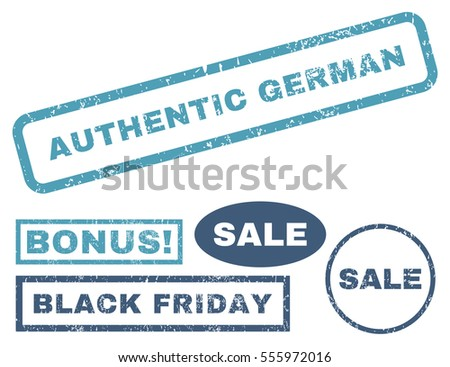 Authentic German rubber seal stamp watermark with bonus banners for Black Friday offers. Vector cyan and blue signs. Tag inside rectangular shape with grunge design and dust texture.