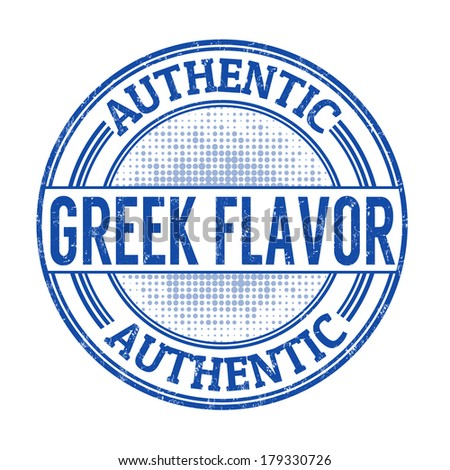 Authentic greek flavour grunge rubber stamp on white, vector illustration - stock vector