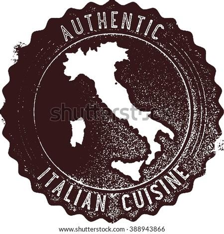 Authentic Italian Cuisine Restaurant Menu Stamp - stock vector