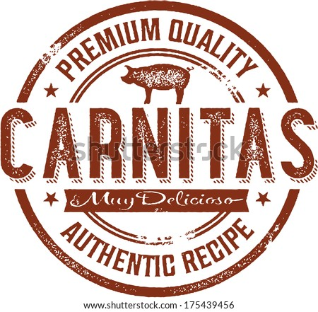 Authentic Mexican Carnitas Menu Stamp - stock vector
