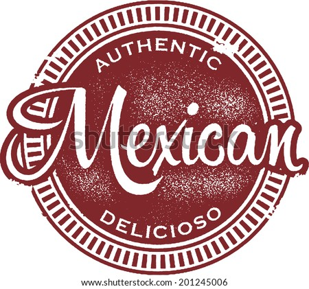 Authentic Mexican Food Menu Stamp - stock vector