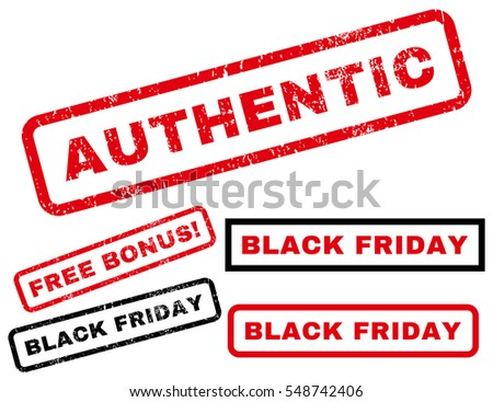 Authentic rubber seal stamp watermark with bonus banners for Black Friday offers. Vector red and black emblems. Caption inside rectangular shape with grunge design and scratched texture.