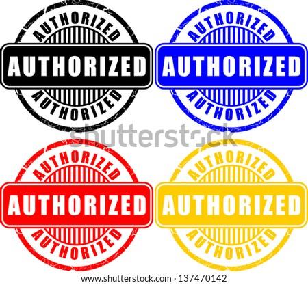 Authorized, icon sticker - stock vector