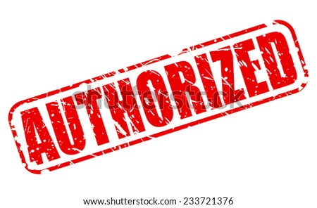 Authorized red stamp text on white - stock vector