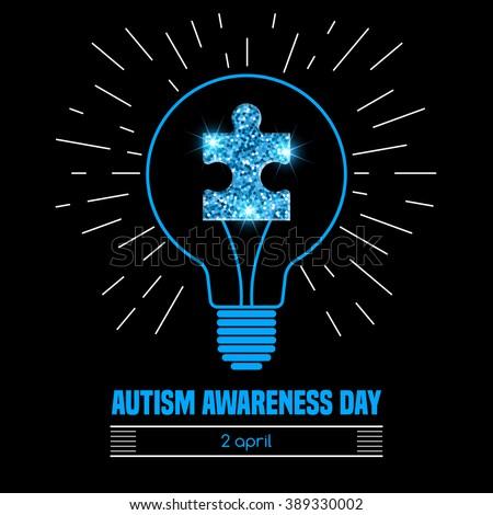 Autism awareness day. Card or poster template. Vector illustration - stock vector