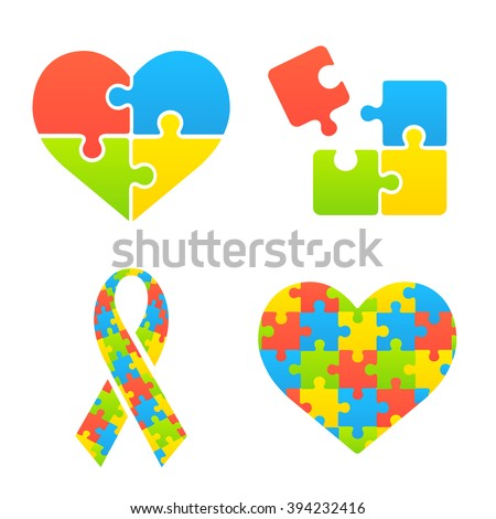 Autism awareness symbols set. Heart, ribbon and puzzle pieces. - stock vector