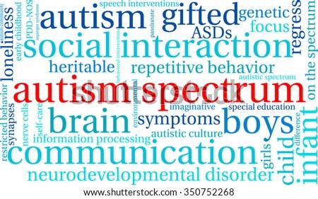 autism spectrum word cloud on white stock vector 350752268