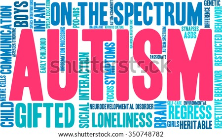 Autism word cloud on a white background.  - stock vector
