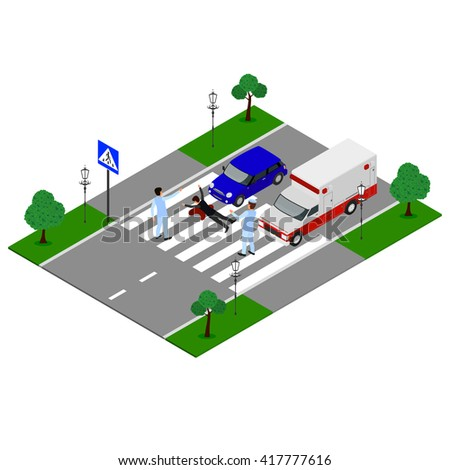 Auto accident involving two cars. Car crash. Crosswalk. Hit a pedestrian. Isometric vector illustration. Assistance to victims. Emergency. - stock vector