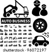 auto business icons set, vector - stock vector