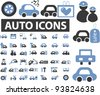 auto & car icons set, vector illustrations - stock vector
