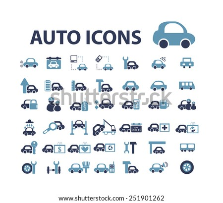 auto, car, mechanic flat isolated icons, signs, illustrations vector set on background - stock vector
