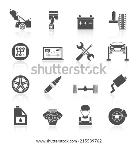 Auto car service icons black set of battery tires wheel engine brake repair isolated vector illustration. - stock vector